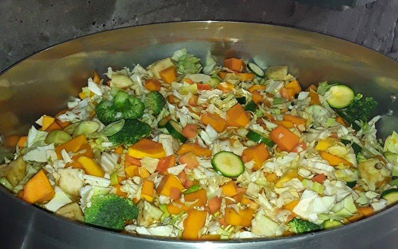 A large pot of vegetables.