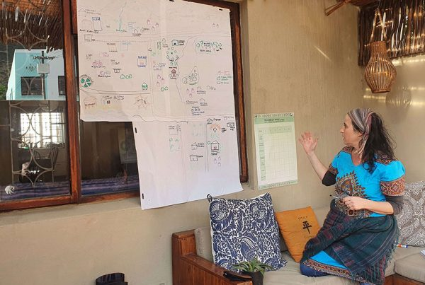 Woman gesturing toward a large piece of paper with brainstorming notes.
