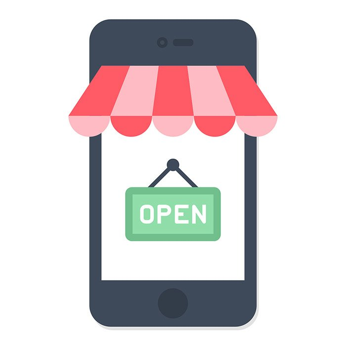 Illustration of a smart phone with a shop window sign that says open.