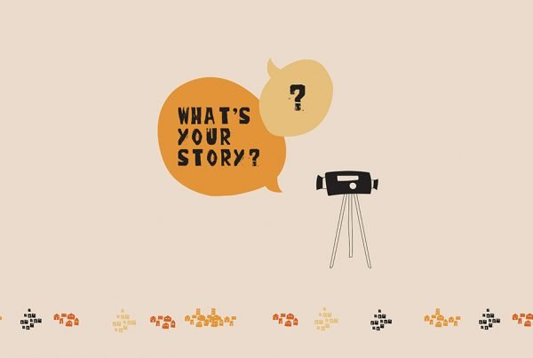Illustration of a camera with a speech bubble that says 'what's your story?'.
