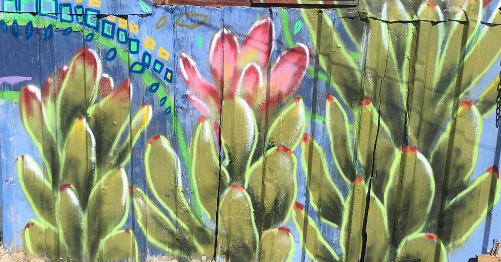 Graffiti mural of indigenous plants.