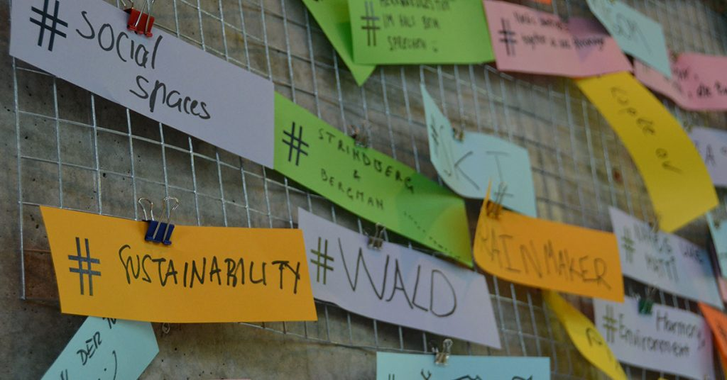 Brainstorming board around sustainable development and entrepreneurship.